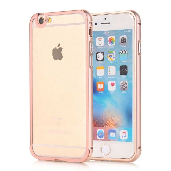 iPhone 6 Hülle Alu Bumper Rosegold / Transparent