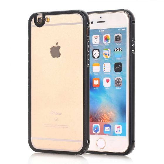 iPhone 6 Hülle Alu Case Anthrazit - Transparent