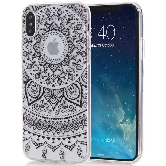 Silikon Case für iPhone X in Transparent mit Mandala Motiv