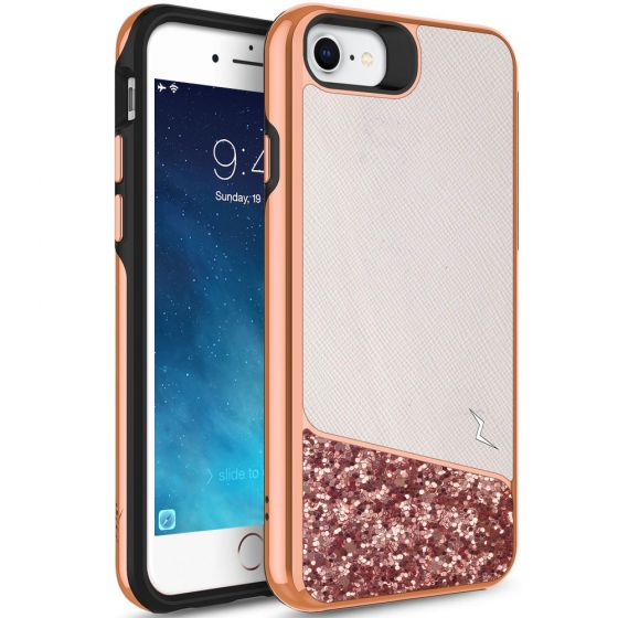 Original Zizo Apple iPhone 7 Double Layer Handyhülle Weiß / Rosa mit Glitzer Elementen