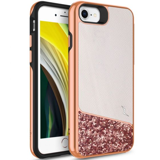 Original Zizo Apple iPhone SE 2020 Double Layer Handyhülle Weiß / Rosa mit Glitzer Elementen
